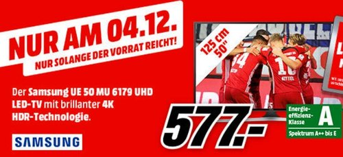Samsung MU6179 125 cm (50 Zoll) Fernseher - jetzt 3% billiger