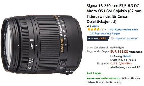 Sigma 18-250 mm F3,5-6,3 DC Macro OS HSM Objektiv (62 mm Filtergewinde, für Canon Objektivbajonett) - jetzt 14% billiger