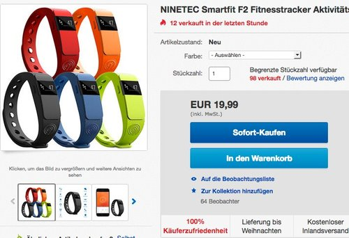 NINETEC Smartfit F2 Fitnesstracker - jetzt 50% billiger