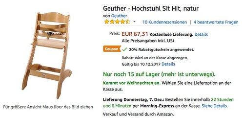 Geuther - Hochstuhl Sit - jetzt 20% billiger