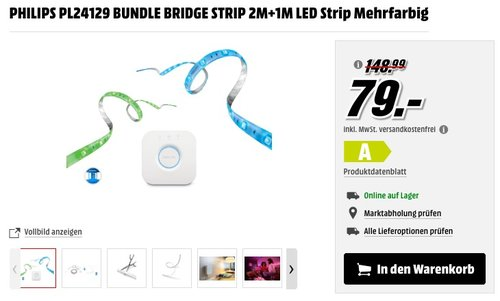 Philips Hue LightStrip+ Basis Set, inkl. Bridge - jetzt 40% billiger