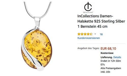 InCollections Damen-Halskette 925 Sterling Silber 1 Bernstein 45 cm - jetzt 45% billiger