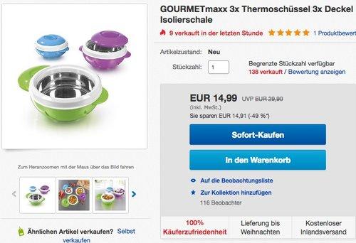 GOURMETmaxx Thermo-Schüsseln Set 3-tlg - jetzt 25% billiger