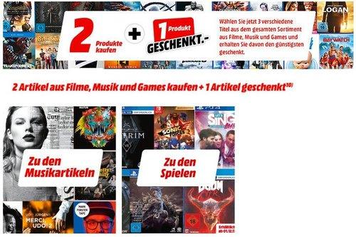 MediaMarkt - 2 Produkte kaufen + 1 Produkt Gratis: Games, Filme & Musik - jetzt 30% billiger