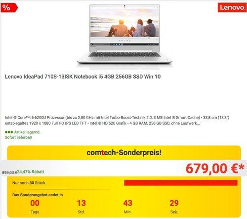 Lenovo IdeaPad 710S-13ISK 80SW003MGE Notebook i5-6200U 4GB 256GB SSD - jetzt 13% billiger