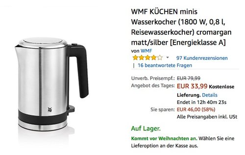 Küche WMF Küchenminis Wasserkocher - jetzt 23% billiger