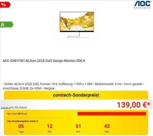 AOC I2481FXH 60,5cm (23,8 Zoll) Design-Monitor - jetzt 13% billiger