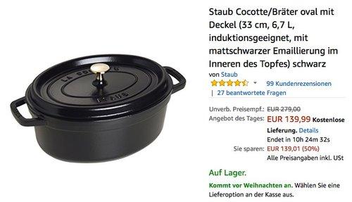Staub Cocotte/Bräter oval mit Deckel 33 cm, 6,7 L - jetzt 21% billiger