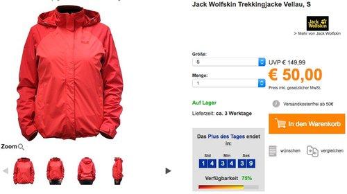 Jack Wolfskin Trekkingjacke Outdoorjacke Vellau Rot - jetzt 28% billiger