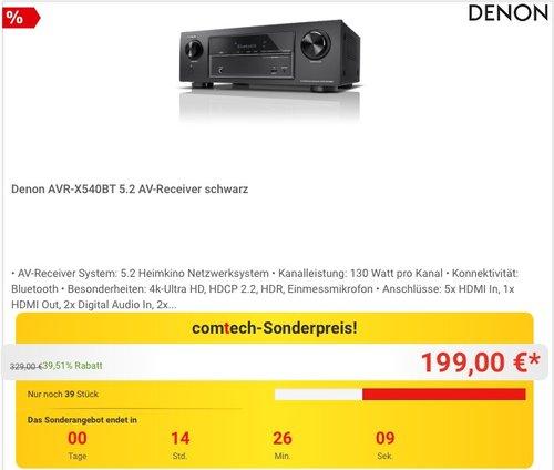 Denon AVR-X540BT 5.2 AV-Receiver - jetzt 9% billiger