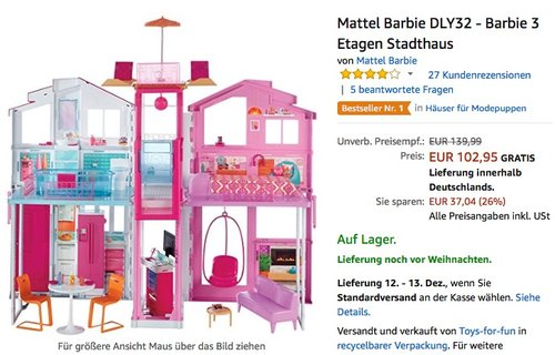Mattel Barbie DLY32 - Barbie 3 Etagen Stadthaus - jetzt 16% billiger