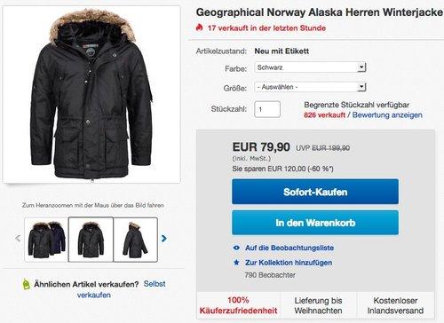 Geographical Norway Alaska Herren Winterjacke  - jetzt 11% billiger