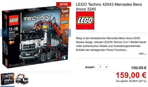 LEGO Technic 42043 Mercedes Benz Arocs 3245 - jetzt 14% billiger