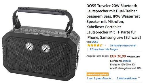 DOSS Traveler 20W Bluetooth Lautsprecher - jetzt 26% billiger