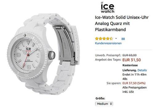 Ice-Watch Solid Unisex-Uhr Analog Quarz mit Plastikarmband  - jetzt 47% billiger