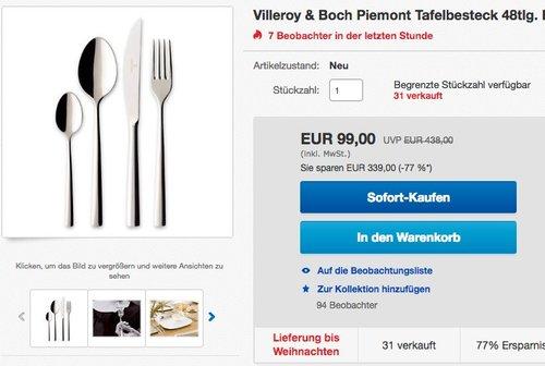 Villeroy & Boch Piemont Tafelbesteck 48tlg - jetzt 31% billiger