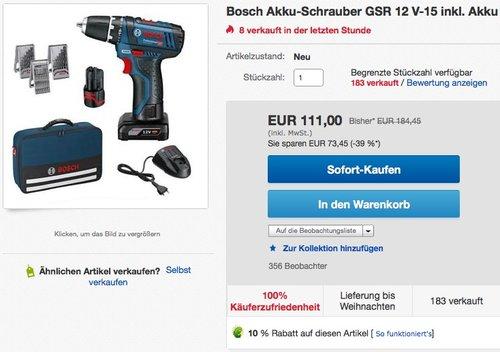 Bosch Professional Akkuschrauber GSR (12 Volt - 15 mit 2x Akku, Ladegerät, 39 tlg. Zubehörset) - jetzt 28% billiger