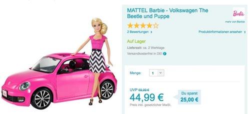 MATTEL Barbie - Volkswagen The Beetle und Puppe - jetzt 20% billiger