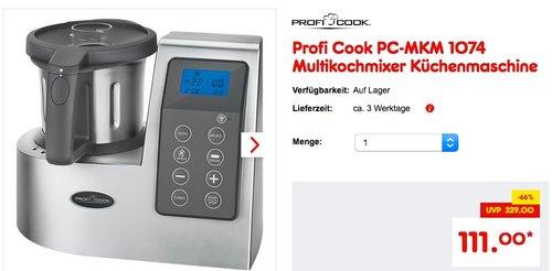 Profi Cook PC-MKM 1074 Multikochmixer Küchenmaschine - jetzt 21% billiger