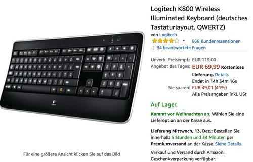 Logitech K800 Wireless Illuminated Tastatur Keyboard - jetzt 18% billiger