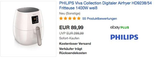 Philips Airfryer HD9238/54 Fritteuse - jetzt 35% billiger