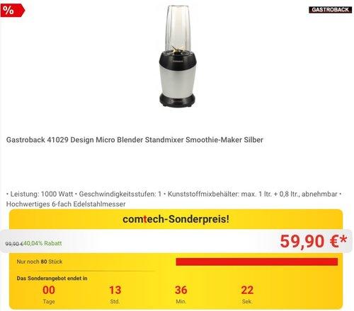 Gastroback 41029 Design Micro Blender Standmixer - jetzt 14% billiger