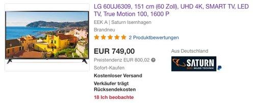 LG 60UJ6309, 151 cm (60 Zoll), UHD 4K, SMART TV - jetzt 22% billiger