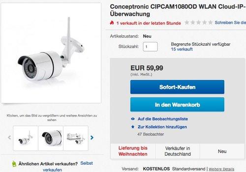 Conceptronic CIPCAM1080OD WLAN Cloud-IP-Kamera - jetzt 26% billiger