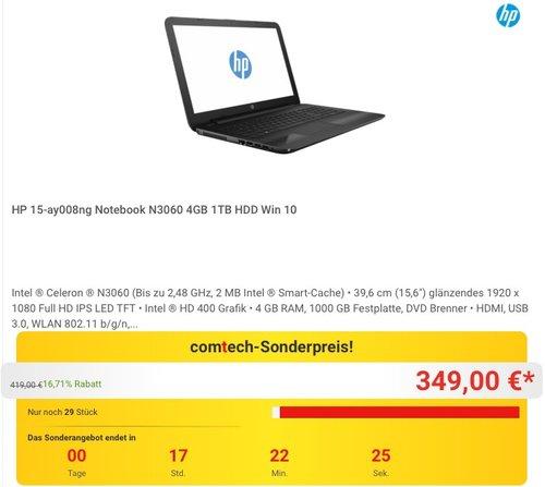 HP 15-ay008ng Notebook N3060 4GB 1TB HDD Win 10 - jetzt 17% billiger
