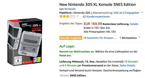 New Nintendo 3DS XL Konsole SNES Edition - jetzt 10% billiger