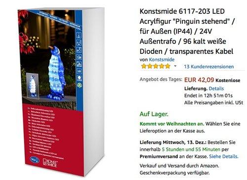 """Konstsmide LED Acrylfigur """"Pinguin stehend"""" - jetzt 17% billiger"""