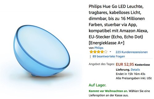 Philips Hue Go LED Leuchte - jetzt 17% billiger