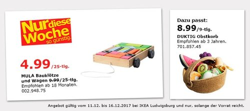 IKEA MULA Bauklötze und Wagen - jetzt 50% billiger