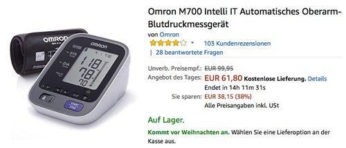 Omron M700 Intelli IT Automatisches Oberarm-Blutdruckmessgerät - jetzt 18% billiger