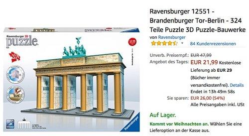 Ravensburger 12551 - Brandenburger Tor-Berlin 3D Puzzle - jetzt 21% billiger
