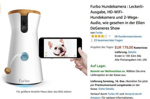 Furbo Hundekamera : Leckerli-Ausgabe, HD-WiFi-Hundekamera und 2-Wege-Audio - jetzt 40% billiger