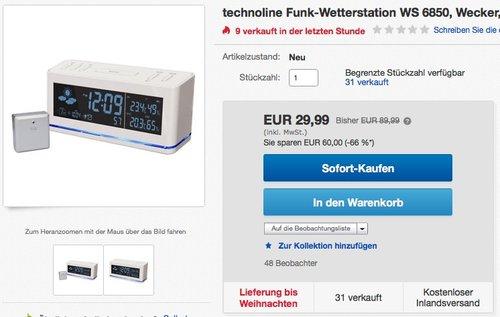 TECHNOLINE WS 6850 Wetterstation - jetzt 25% billiger