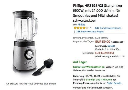 Philips HR2195/08 Standmixer - jetzt 16% billiger