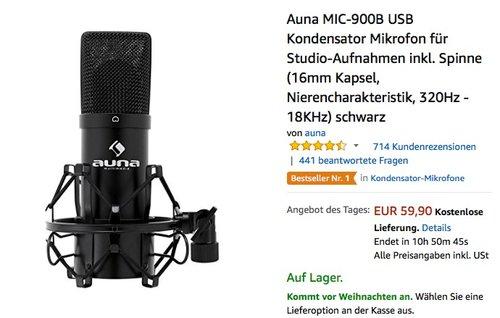 Auna MIC-900B USB Kondensator Mikrofon für Studio-Aufnahmen inkl. Spinne  - jetzt 20% billiger