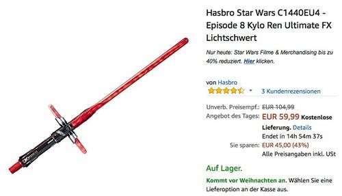 Hasbro Star Wars C1440EU4 - Episode 8 Kylo Ren Ultimate FX Lichtschwert - jetzt 25% billiger