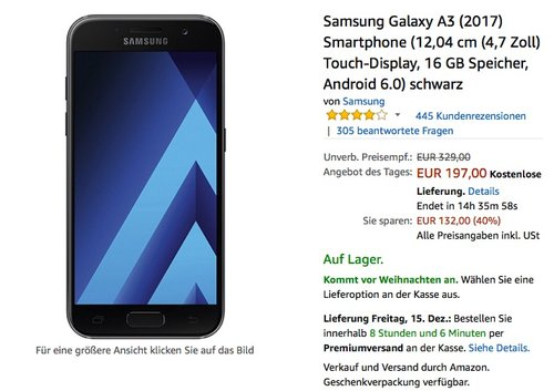Samsung Galaxy A3 (2017) Smartphone - jetzt 10% billiger