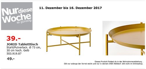 IKEA JORID Tabletttisch - jetzt 20% billiger