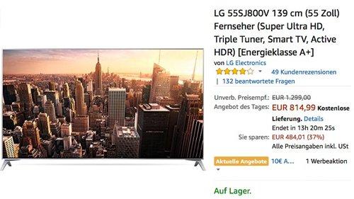 LG 55SJ800V 139 cm (55 Zoll) Fernseher  - jetzt 9% billiger