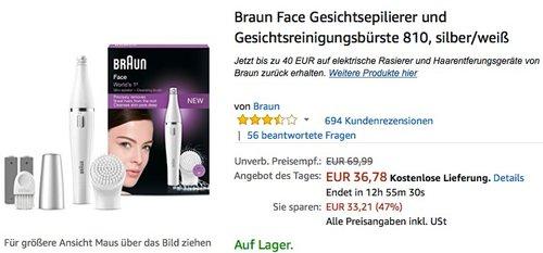Braun Face Gesichtsepilierer und Gesichtsreinigungsbürste 810 - jetzt 14% billiger