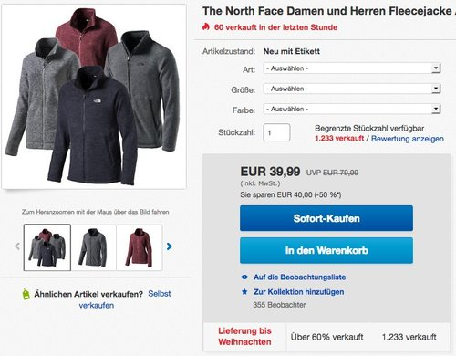 The North Face Herren Fleecejacke Alteo - jetzt 20% billiger