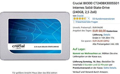 Crucial BX300 SSD Festplatte 240GB - jetzt 15% billiger