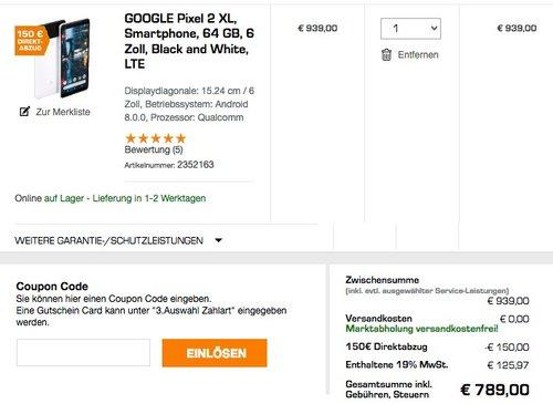 GOOGLE Pixel 2 XL Smartphone 64 GB - jetzt 12% billiger
