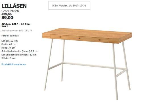 IKEA LILLASEN Schreibtisch, Bambus - jetzt 31% billiger