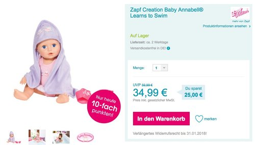 Zapf Creation Baby Annabell Learns to Swim - jetzt 13% billiger