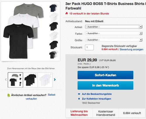 3er Pack HUGO BOSS T-Shirts Business Shirts - jetzt 25% billiger